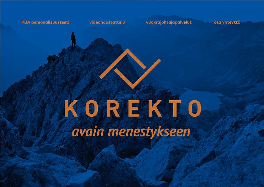 logo design and web page design for company Korekto by Finnish graphic designer Johanna Bruun