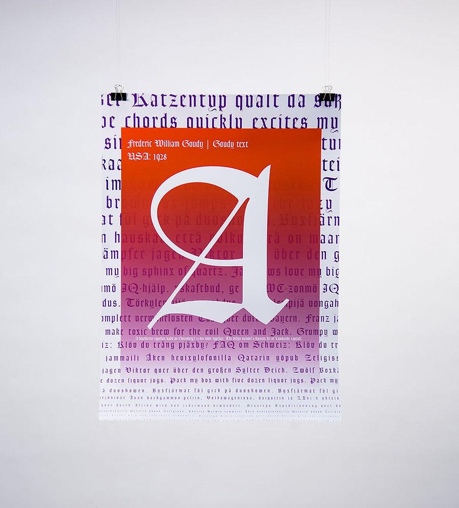 Typographic poster about font Goudy Text poster design by graphic designer Johanna Bruun. Illustration och poster design av grafisk designer Johanna Bruun. Kuvitus ja julistesuunnittelu Johanna Bruun.