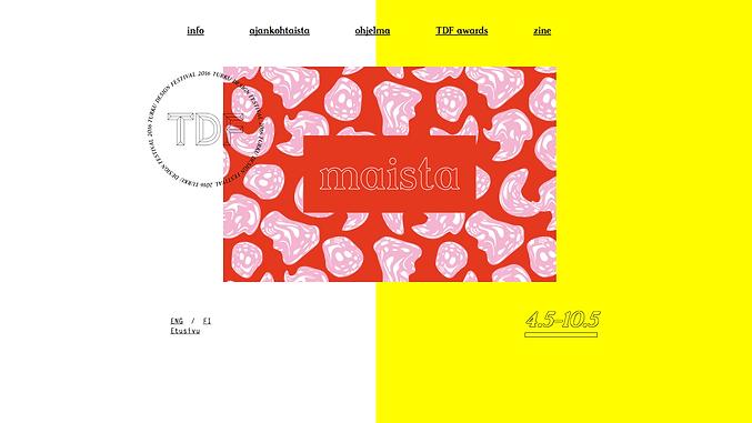 Webpage design for Turku Design Festival 2016 by graphic designer Johanna Bruun.