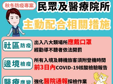 12月1日起實施「秋冬防疫專案」,出入八大類場所應佩戴口罩