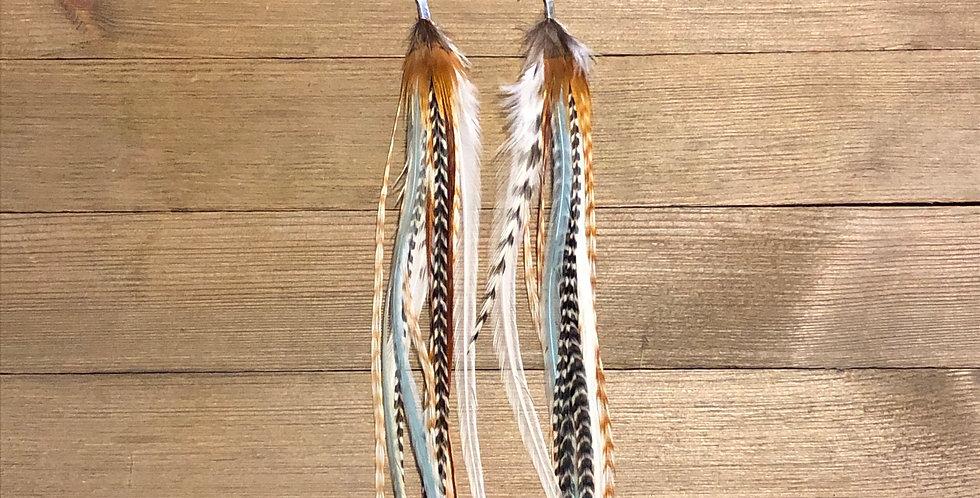 Sunshine & Blue Skies - Long Feather Earrings