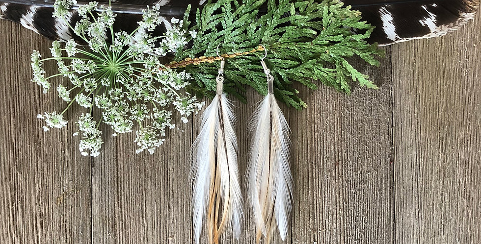 White River - Small Feather Earrings
