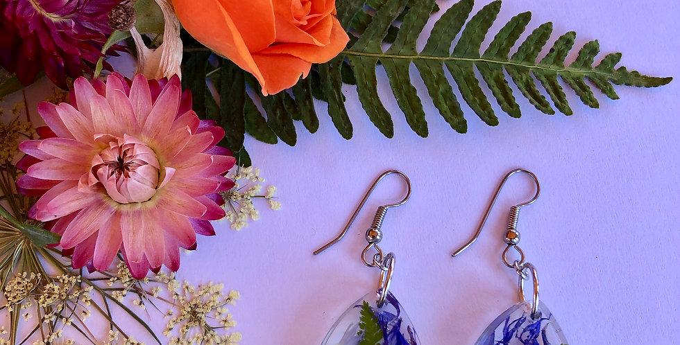 Viola, Queen Anne's Lace, Bachelor Buttons & Ferns