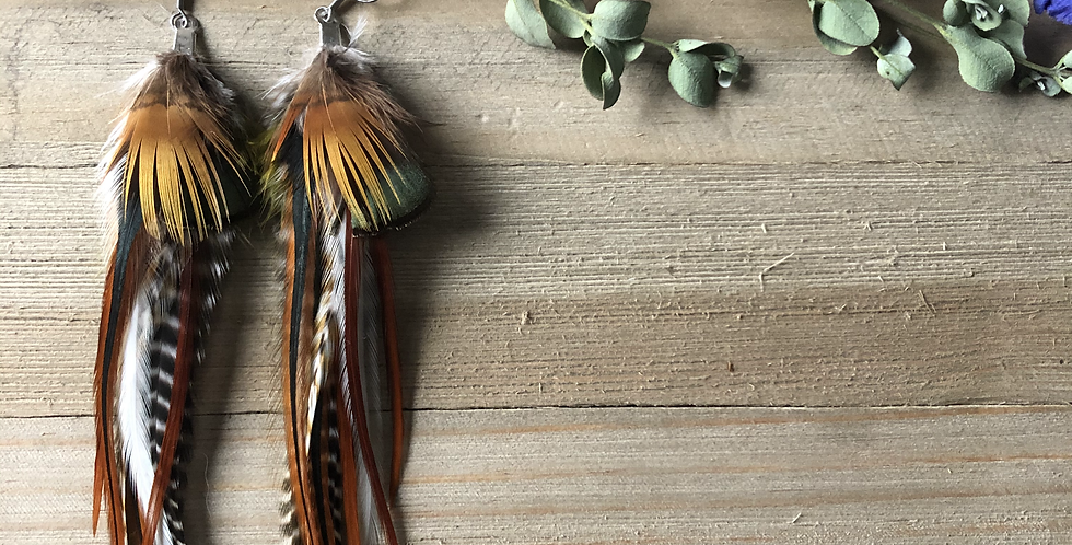 Forest Friend - Medium Feather Earrings