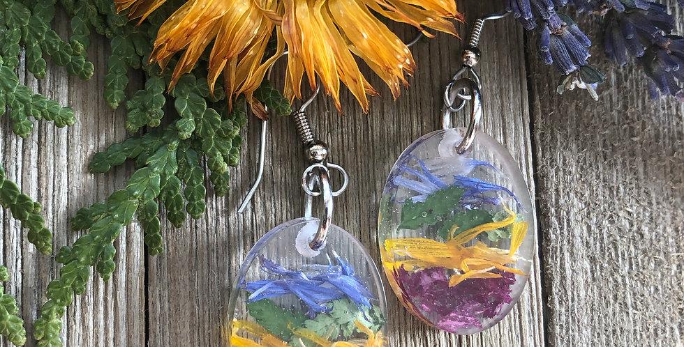 Rainbow Beauty - Oval Botanical Earrings