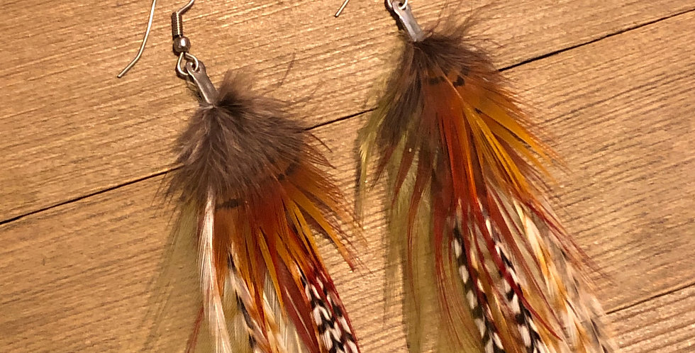 Forest Phoenix - Long Feather Earrings