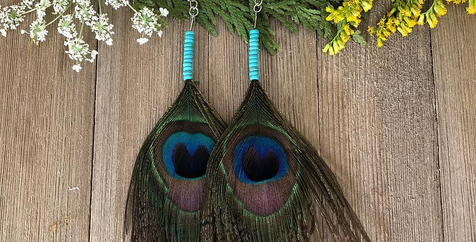Turquoise Eyes - Peacock Earrings