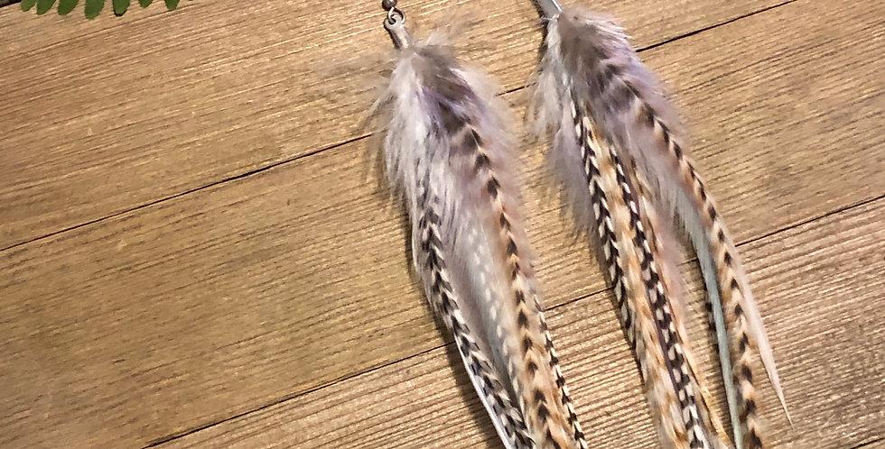 Purple & Pastel - Long Feather Earrings