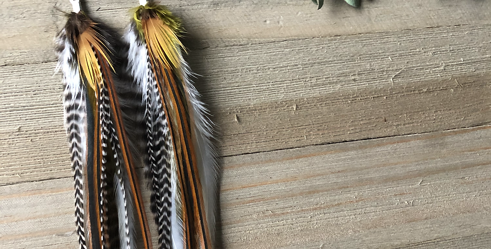 Birds of a Feather - Long Feather Earrings