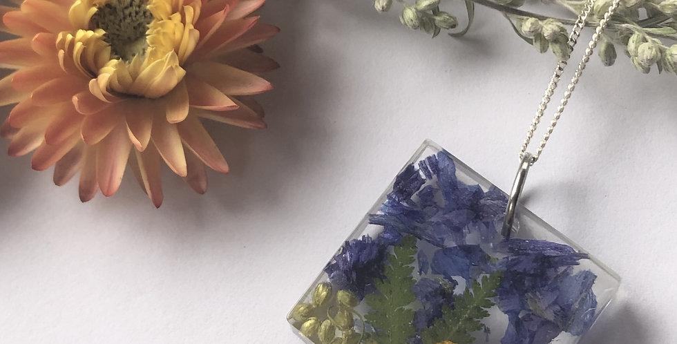 Mugwort, Fern, Viola & Bachelor Buttons