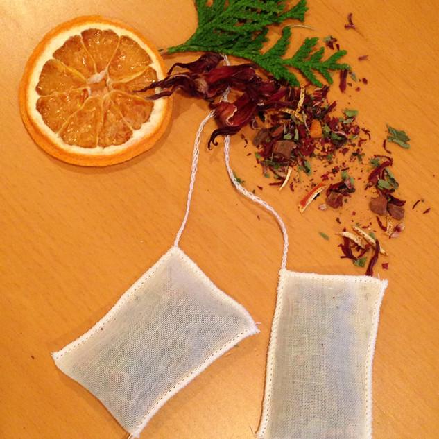 Hand sewn tea bags...
