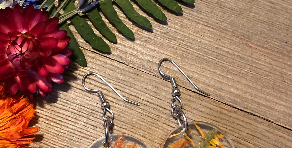 Viola, Moss & Calendula - Handpicked Botanical Earrings