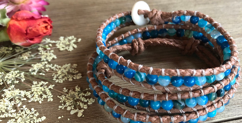 Striped Blue Agate Wrap Bracelet