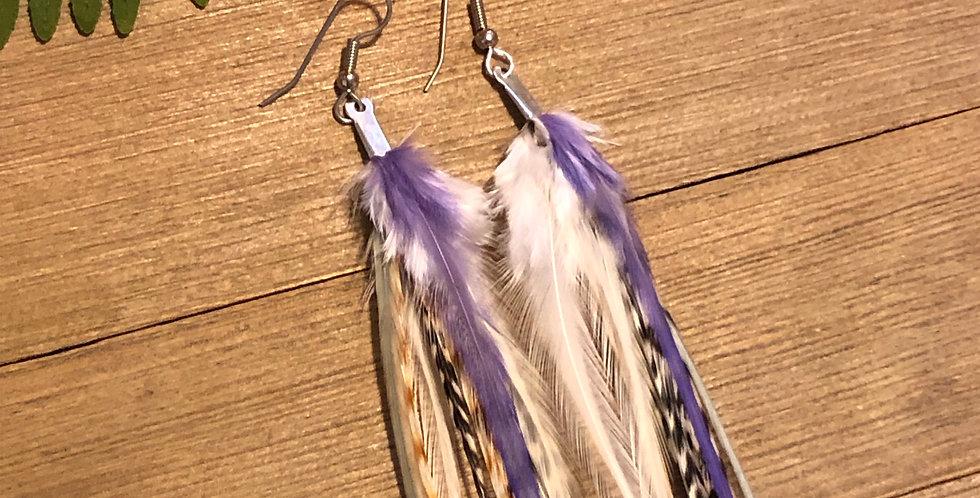 Purple & Copper - Medium Feather Earrings