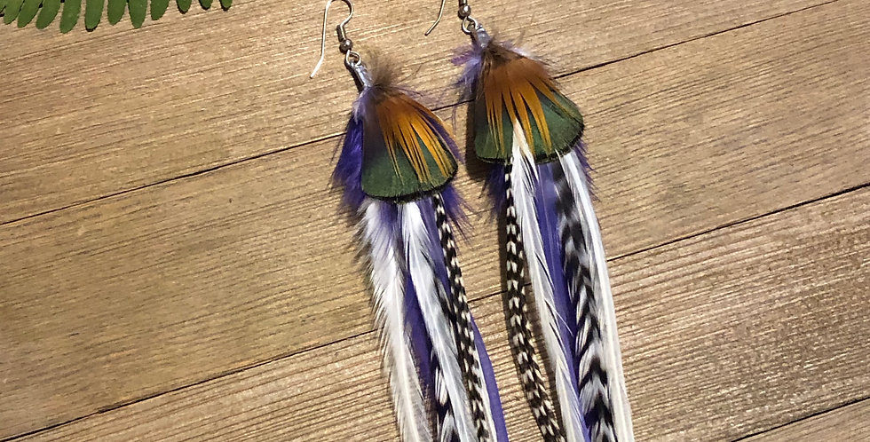 Rare Bird - Long Feather Earrings