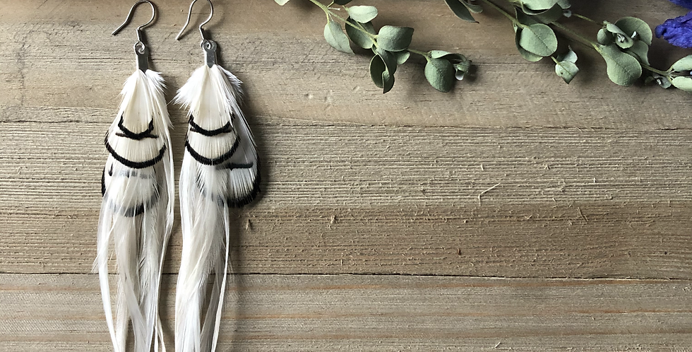 Peaceful Dove - Medium/Long Feather Earrings