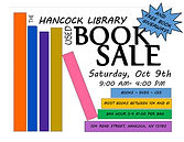 Our long awaited book sale will take place on Saturday, Oct 9th. We have SO many books that we will also be holding a free book giveaway on the lawn (weather permitting). And our bag hour where you can fill a bag of books for $1 will be from 3-4. We will also be selling DVDs, CD's and Audio Books.