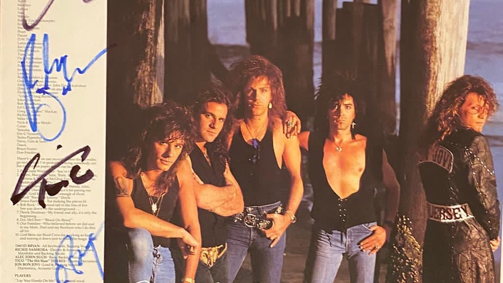 Bon Jovi New Jersey Inner Sleeve Autographed