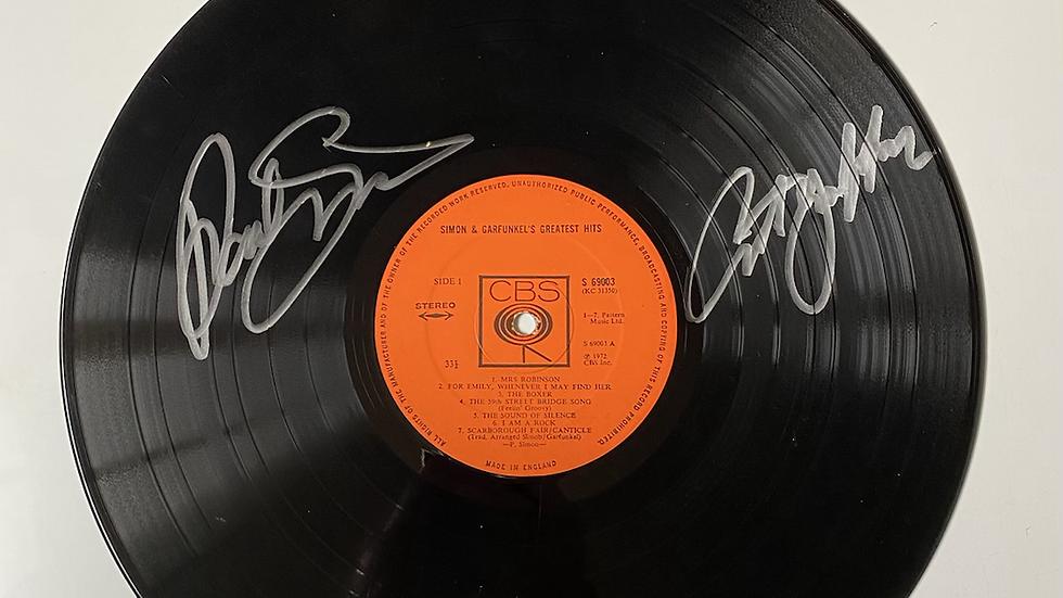 Simon & Garfunkel's Greatest Hits Vinyl Record Autographed