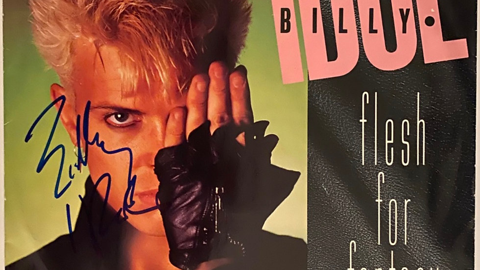 Billy Idol Flesh For Fantasy LP Cover Autographed
