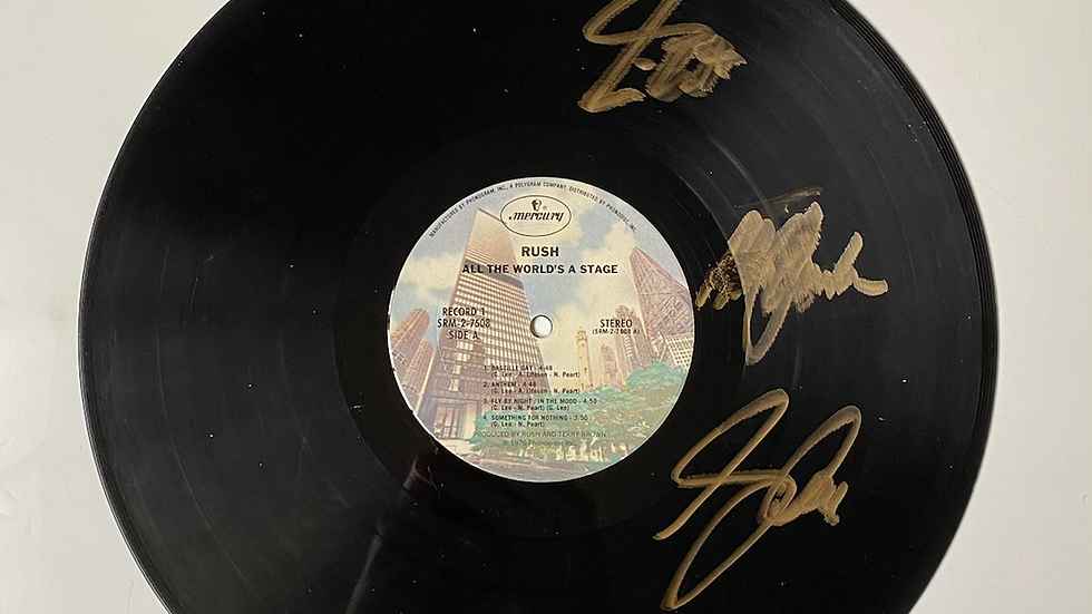 Rush All The World's A Stage Vinyl Record Autographed