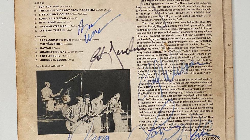 The Beach Boys Concert LP Cover Autographed