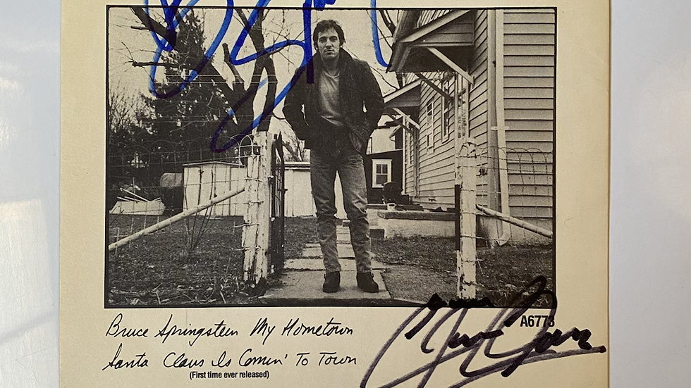 Bruce Springsteen My Hometown Single Cover Autographed