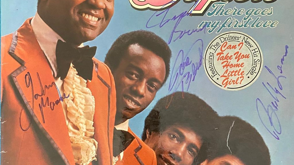 The Drifters There Goes My First Love LP Cover Autographed
