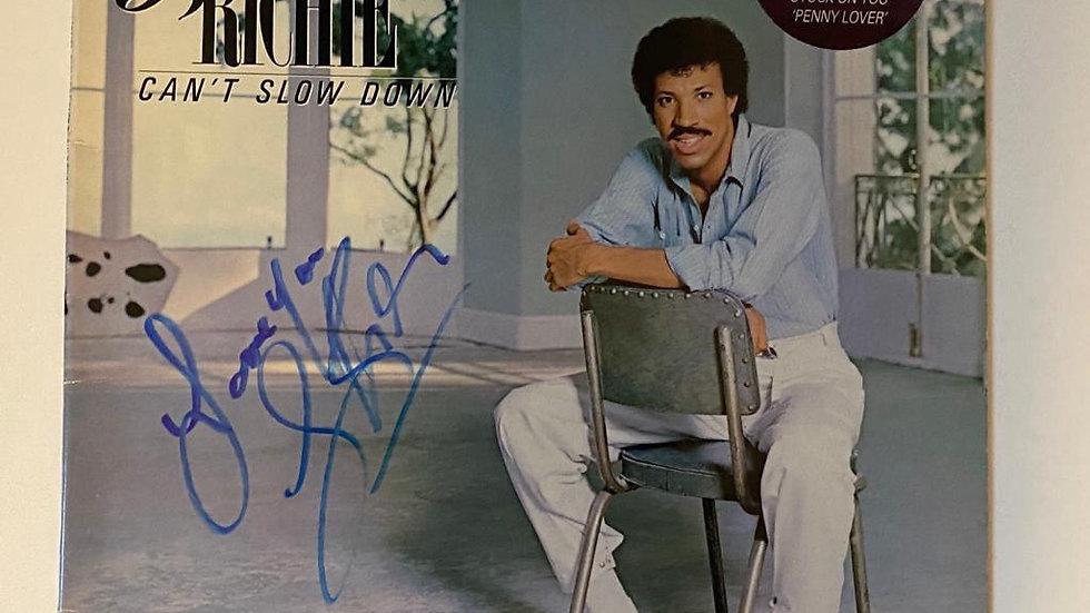 Lionel Richie Can't Slow Down LP Cover Autographed