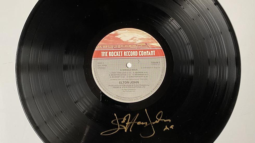 Elton John A Single Man Vinyl Record Autographed