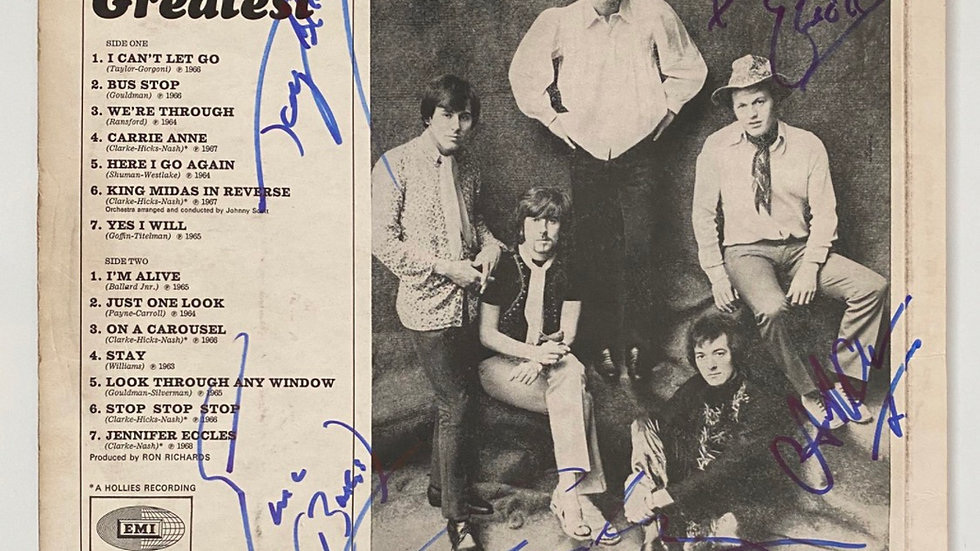 The Hollies' Greatest LP Cover Autographed