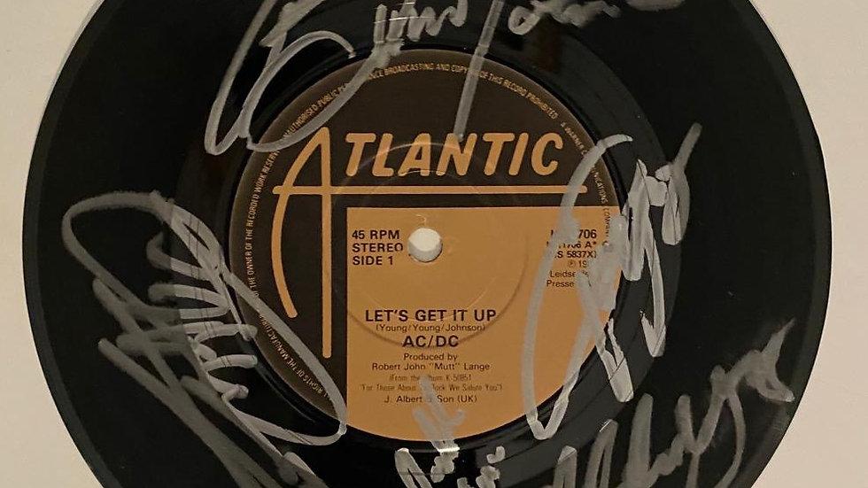 ACDC Lets Get It Up Single Vinyl Autographed
