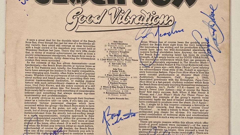 The Beach Boys Good Vibrations LP Cover Autographed