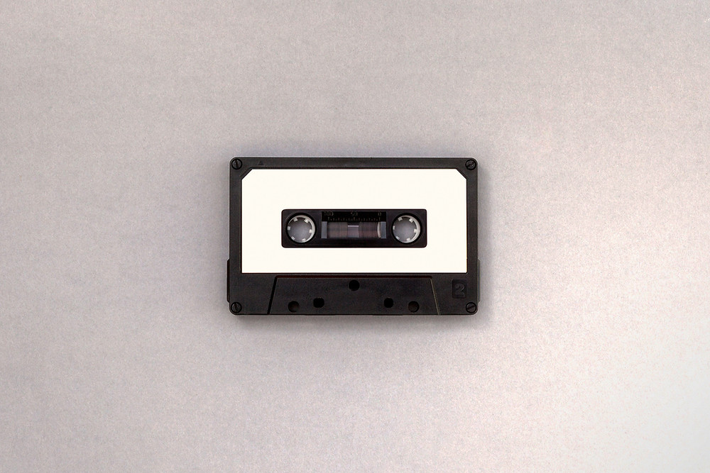 An old plastic magnetic tape (cassette)