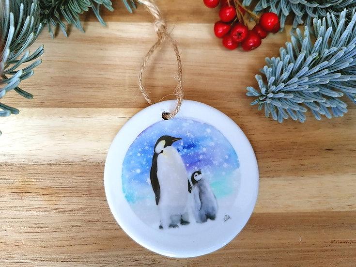 Penguin ceramic Christmas decoration