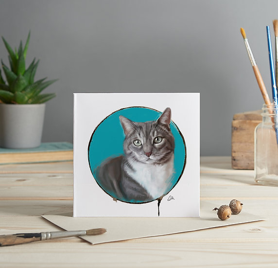 Grey and white cat greeting card
