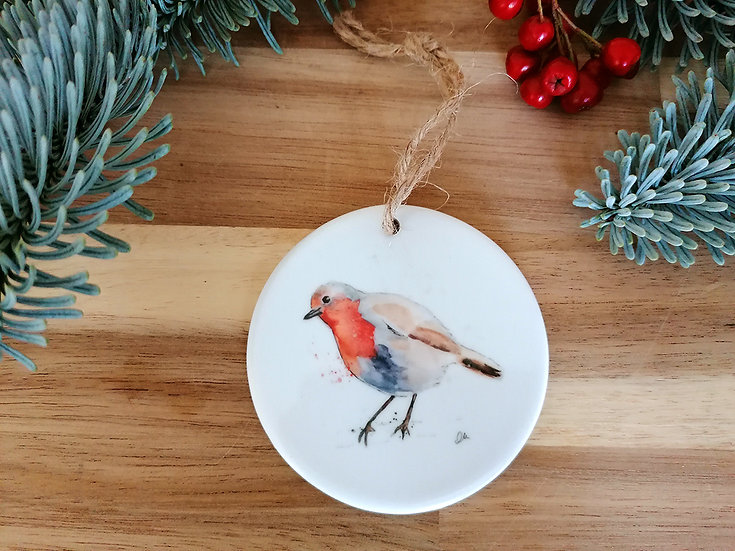 Robin 2 ceramic Christmas decoration