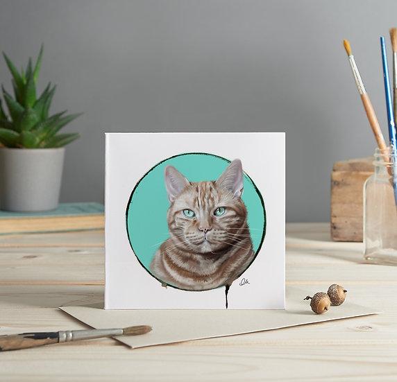 Ginger cat greeting card