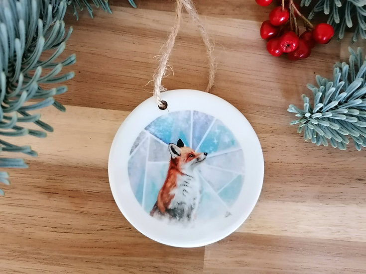 Fox ceramic Christmas decoration