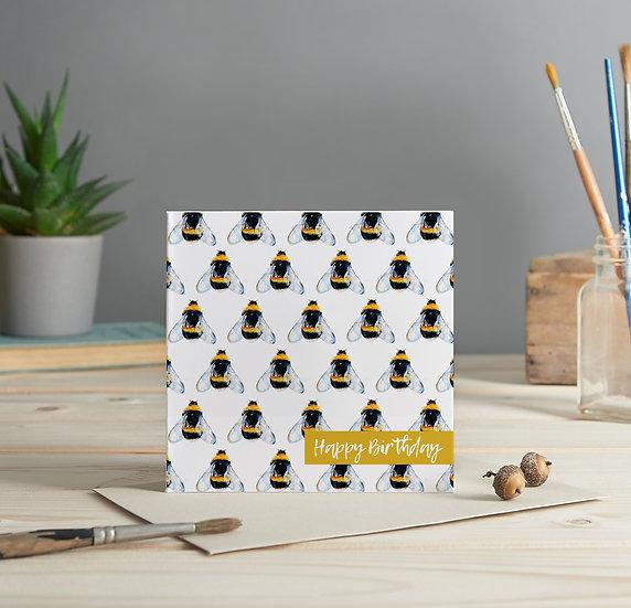 Bumblebee pattern, Happy Birthday greeting card