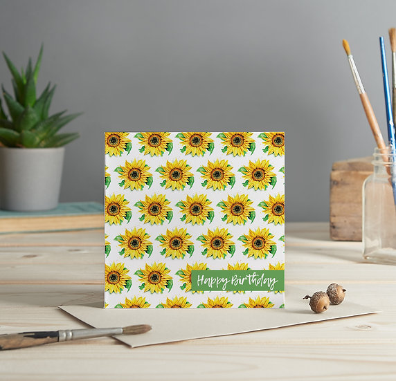 Sunflower pattern, Happy Birthday greeting card