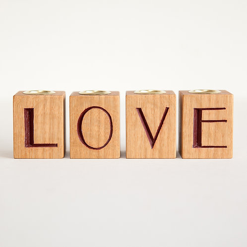 Love Wooden Candle Holder