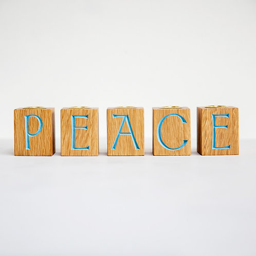 Handmade Wooden Peace candle holder
