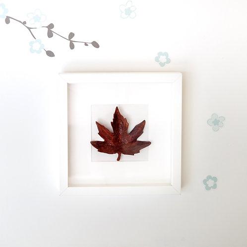 Wooden Autumn Leaf in frame