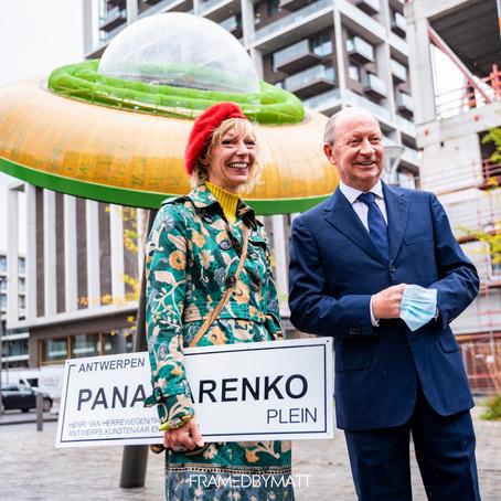 Het Panamarenkplein op het Nieuw Zuid in Antwerpen als eerbetoon aan Panamarenko