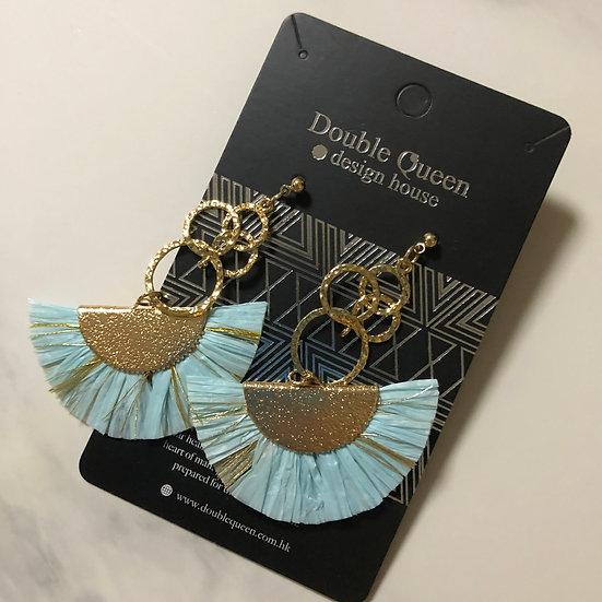 藍色系列扇型耳環