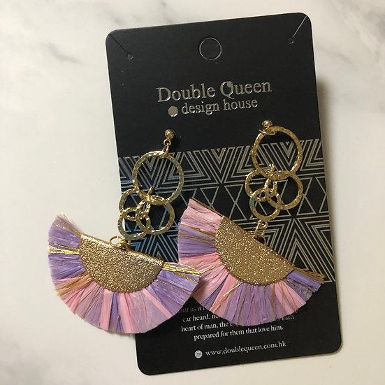 粉色系列扇型耳環