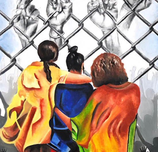 caged children : oil & pencil on paper.
