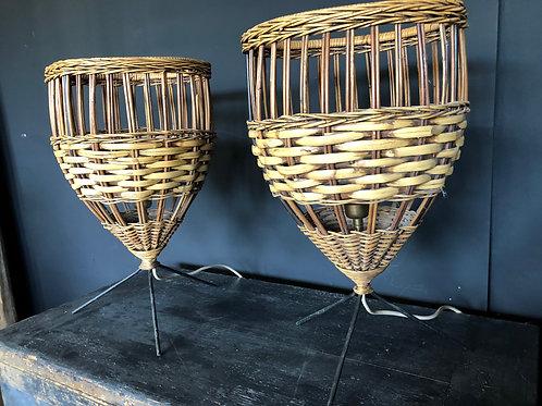 Pair of Cain/Rattan lamps