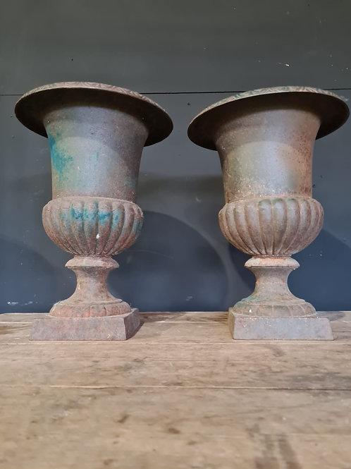 Pair of modern metal urns